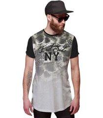 camiseta di nuevo longline caveira floral east side ny degradê - masculino