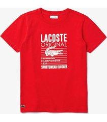 camiseta lacoste original fit vermelho - vermelho - menino - dafiti