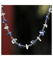 quartz and sodalite necklace, 'blue sky' (brazil)