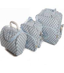 kit bolsas maternidade adventure baby prime azul claro 3 peças
