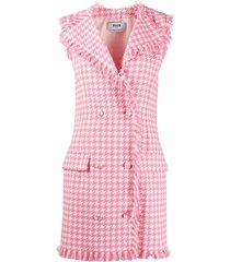 msgm houndstooth frayed double-breasted dress - pink