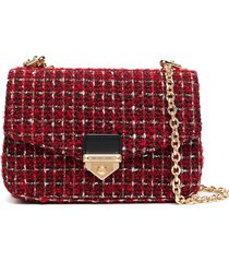 michael michael kors soho tweed crossbody bag - red