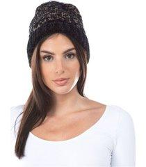 women's chenille lurex faux fur pom hat