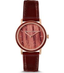 original grain women's reclaimed wine barrel staines with genuine leather watch 34mm