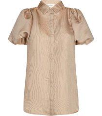glanzende blouse met pofmouwen san  goud