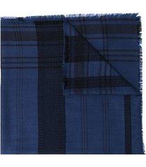 etro lightweight checkered scarf - blue