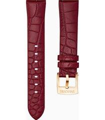 cinturino per orologio 18mm, rosso scuro, placcato color oro rosa