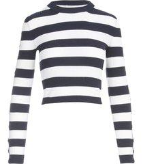 michael michael kors stripe sweater w/snap sleeves