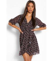 bloemenprint mini wikkel jurk, black