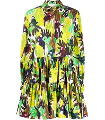 valentino monkeys forest print poplin dress - yellow