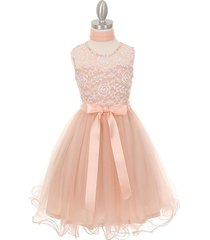 blush beautiful soft embroidered tulle with matching scarf flower girl dress
