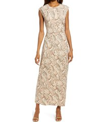 fourteenth place ruched jersey dress, size x-large in soft snake at nordstrom