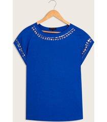 camiseta unicolor azul xs