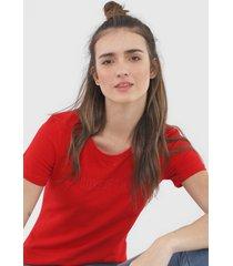 camiseta coca-cola jeans aplicações vermelha - kanui