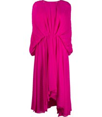 msgm pleated batwing-sleeve dress - pink