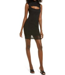 afrm maci mock neck sleeveless dress, size x-small in noir at nordstrom