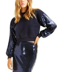 culpos x inc sequin-sleeve cropped sweatshirt, created for macy's