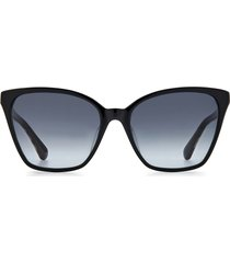kate spade new york amiyah 56mm gradient polarized cat eye sunglasses in black/grey shaded at nordstrom