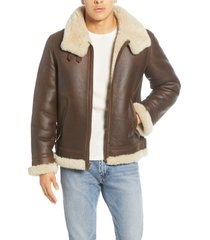 men's ugg auden genuine shearling trim leather aviator jacket, size x-small - brown