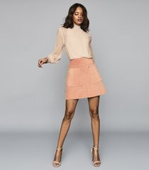 reiss elm - suede mini skirt in pink, womens, size 12
