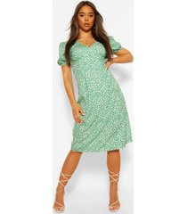 animal print v neck midi dress, olive