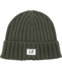 c.p. company logo beanie hat