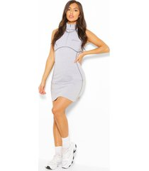 woman seam detail half zip dress, grey marl