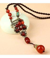 collana etnica vintage lunga collana in agata rossa per donne