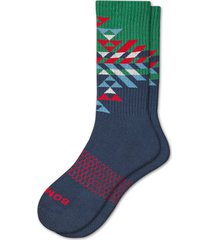 men's bombas prism snowflake crew socks, size large - green
