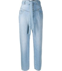 pinko high rise belted waist jeans - blue