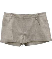 beige linen-blend shorts