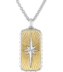 "esquire men's jewelry diamond starburst dog tag 22"" pendant necklace (1/8 ct. t.w.) in sterling silver & 14k gold over sterling silver"