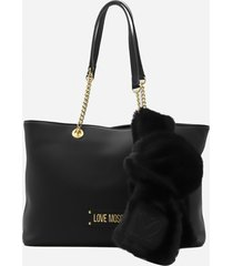 love moschino shoulder bag with logo lettering and eco-fur scarf detail