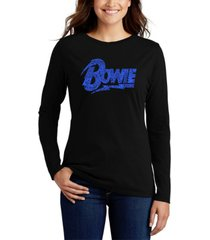 women's david bowie logo word art long sleeve t-shirt