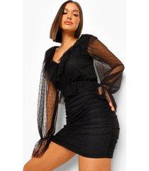 geplooide mini jurk met ruches, black