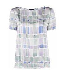 emporio armani geometric print boat-neck t-shirt - cinza