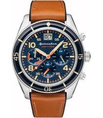 spinnaker men's fleuss chrono tan genuine leather strap watch 43mm