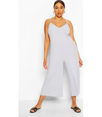 plus ribbed v neck culotte jumpsuit, grey marl