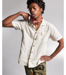 ouigi theodore for sun + stone men's linen graphic shirt