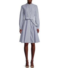 calvin klein women's mandarin collar striped dress - indigo - size 6