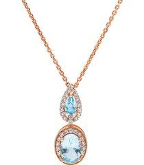 aquamarine (1-1/3 ct. t.w) diamond (1/3 ct. t.w) pendant set in 14k rose gold