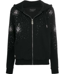 philipp plein rhinestone detail hoodie - black
