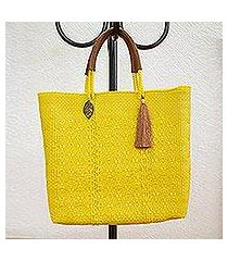 leather accented plastic tote, 'maize mirage' (mexico)