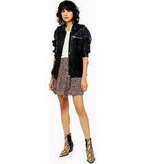 petite idol leopard print ruffle mini skirt - multi