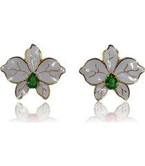brinco maxi flor orquãdea gota esmeralda banhado a ouro 18k - branco - feminino - dafiti