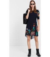 multilayer floral dress - black - 46