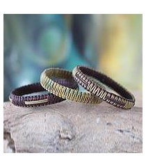 bangle bracelets, 'fulani kente treasure' (set of 3) (ghana)