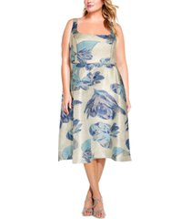 adrianna papell plus size square-neck dress