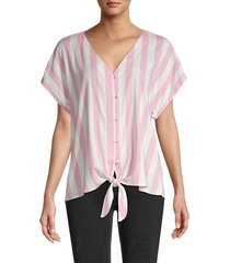 bobeau women's oxford stripe slub blouse - chambray stripe - size xs