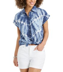 style & co petite cotton tie-front camp shirt, created for macy's